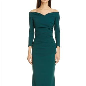 NWOT Chiara Boni Suzie Off the Shoulder Gown Green